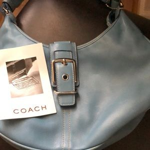 Nice used light blue Coach leather bag